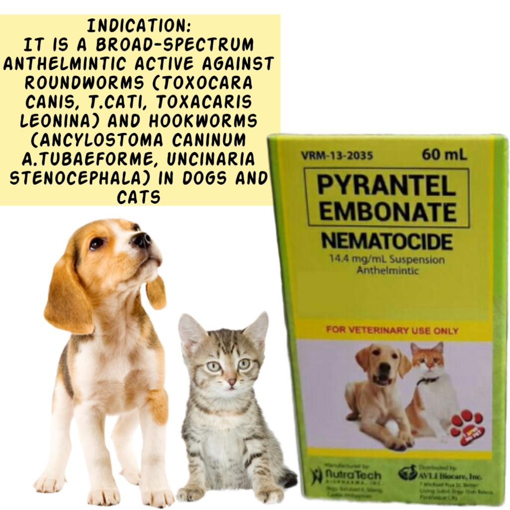 Nematocide Pyrantel Embonate Antihelmintic Dewormer For Pets 60ml