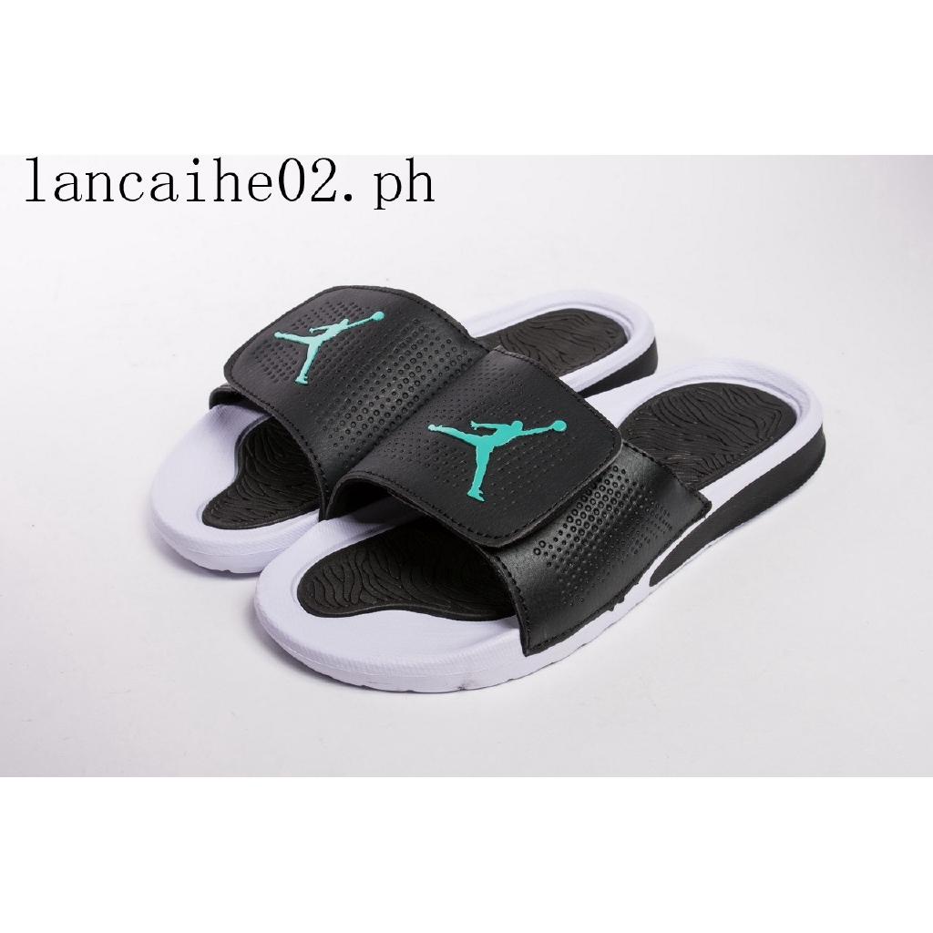 db53ea2f6b5 Air Jordan Hydro 5 Sandals Flip-flops J5 Slipper Black Green | Shopee  Philippines