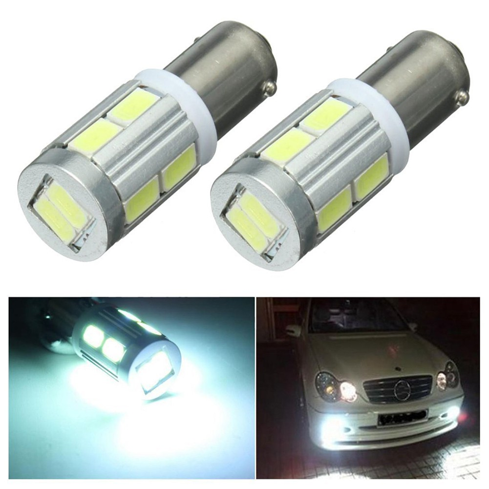 2x Ba9s 5 SMD 5050 LED Pure White Canbus Error Free Interior Car H6w Light Bulb