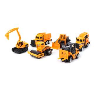 6pcs Mini Diecast Alloy Construction Car Truck Model Toys