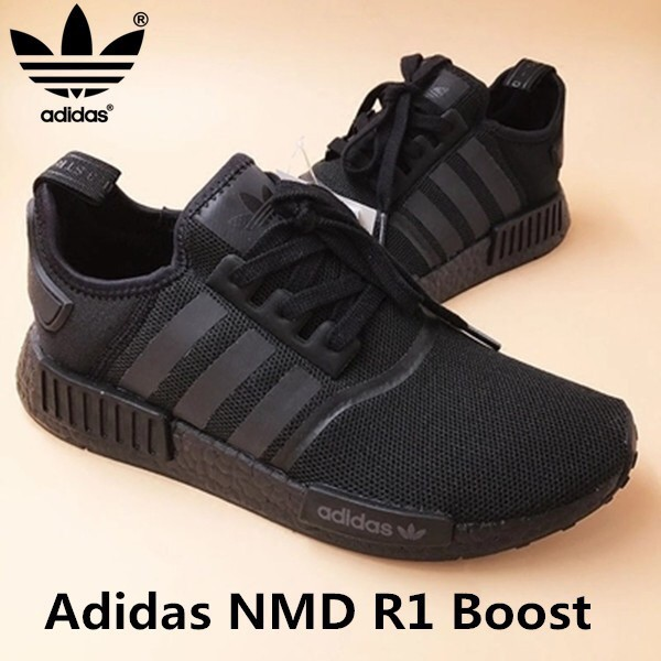 217ee85be8f75 100% Original Adidas NMD R1 Boost shoes sneakers all black