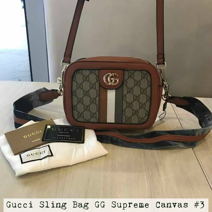 02851391188e Authentic Gucci Bag GG Supreme Canvas Sling Bag Free SF | Shopee Philippines