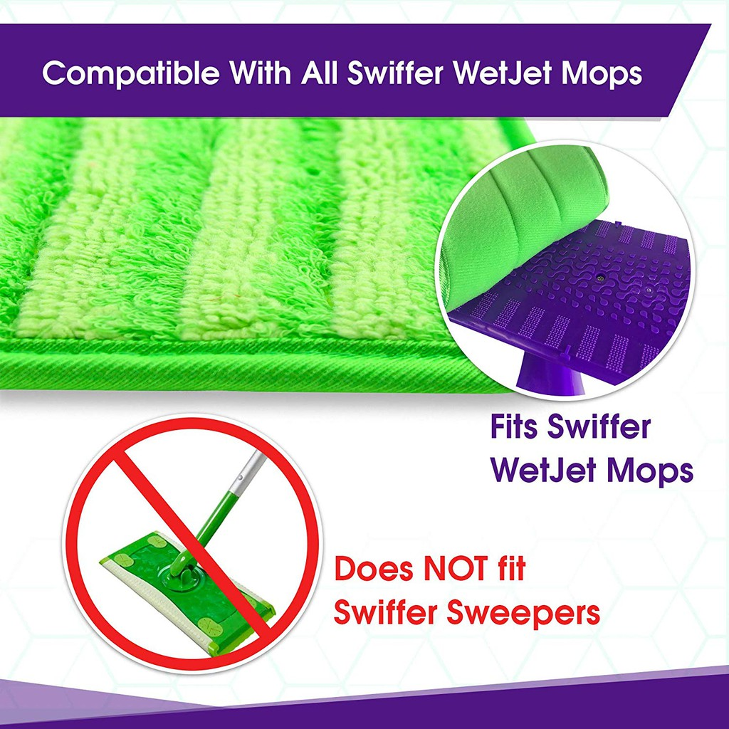 Set of 8 Reusable Microfiber Mop Pads Rainbow Color Combo Compatible with Swiffer WetJet