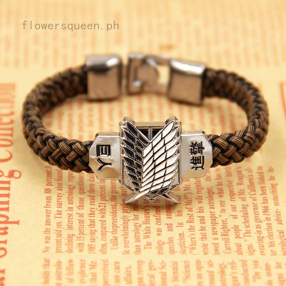 Japanese Anime Attack on Titan Scouting Legion Leather Bracelet Wristband
