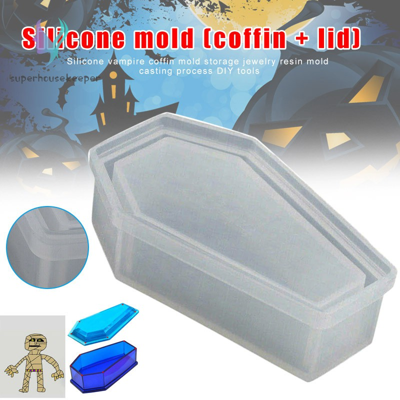vampire coffin silicone mold for resin jewelry making flower pot box crafts