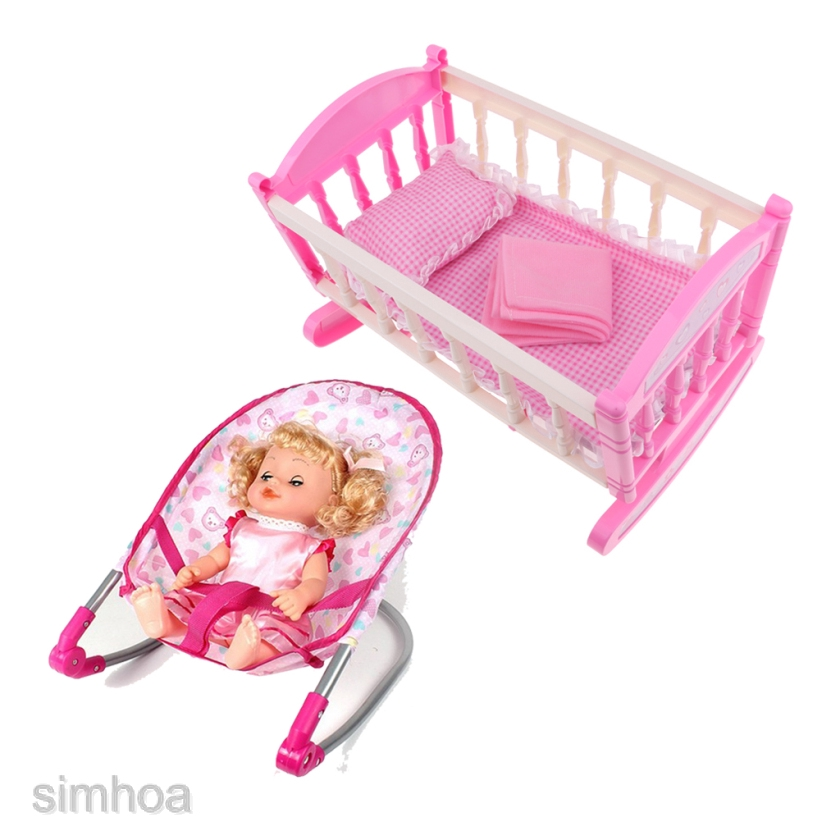 Baby Nursery Room Furniture Decor Doll Bouncer Cradle Bed Kids Fun Play Toy