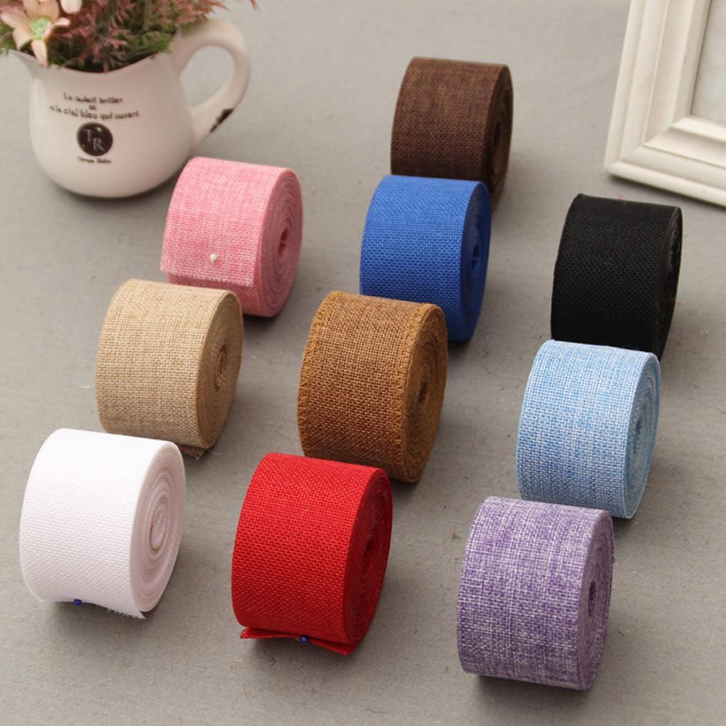 2 Meters Multi-color DIY Jute Hessian Burlap Ribbon for Wedding Belt Strap Craft