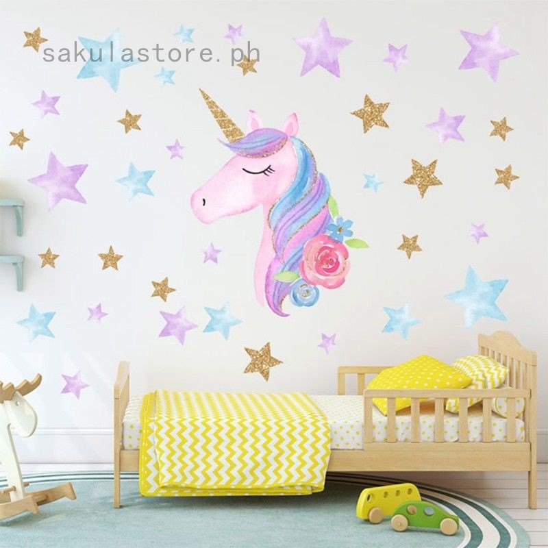 Cute 64 Hearts /& Stars Unicorn Art Wall Sticker Girls Bedroom Nursery Decor Gift