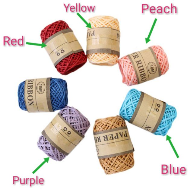 1 pc//set raffia natural reed tying craft ribbon paper twine 30g   Pt