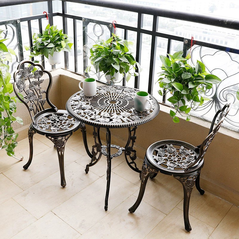 Outdoor Furniture Cast Aluminum Furniture Patio Furniture Dining Table And 2 Chairs Shopee Philippines
