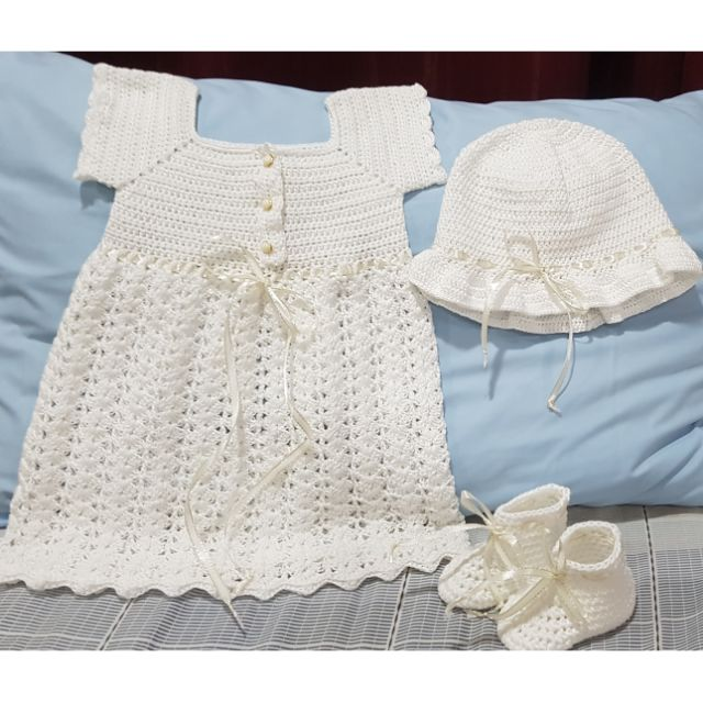 Crochet Baby Dress and Hat Cotton Baby Dress Set Handmade Baby Dress and Hat