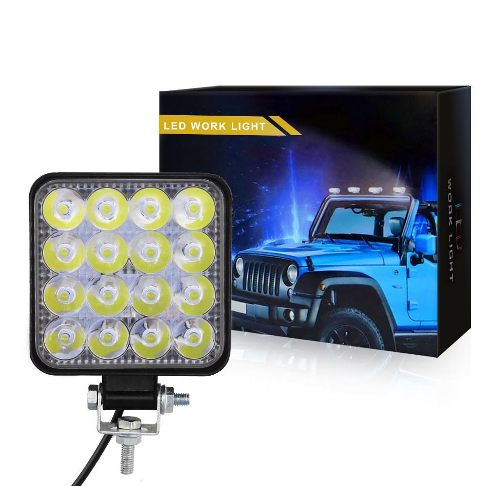 Mini 16led 48w Led Work Light Square Spotlight 12v 24v Offroad Led Light Bar For Truck Offroad 4x4 4wd Car Suv Atv Shopee Philippines