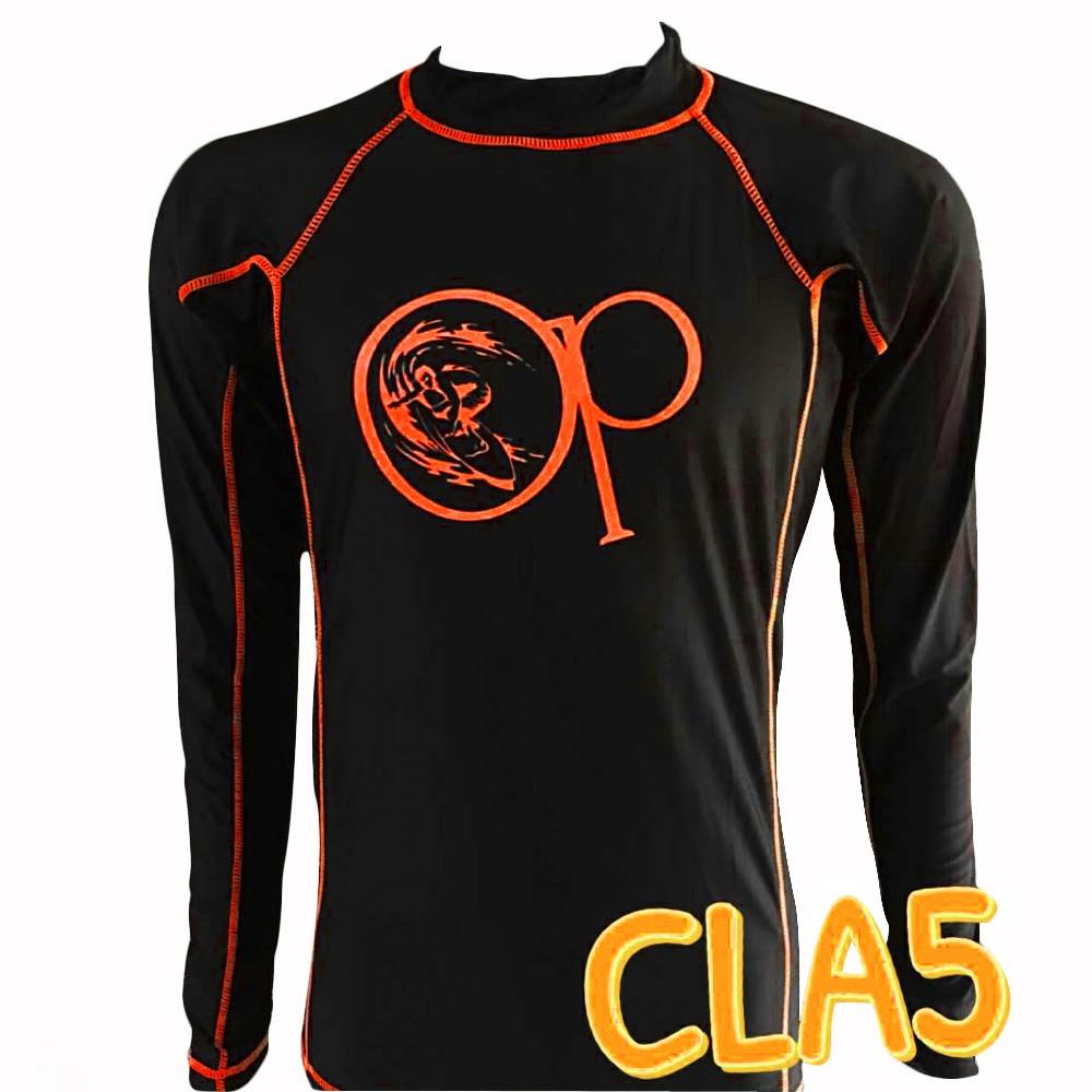 3806b999a4ea9d OP CLA5 Unisex Rash Guard Swim Shirt (Orange Print)