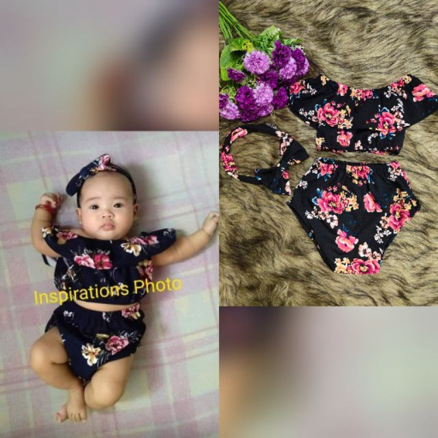 Baby OOTD Luna terno set with turban 3 months to 1 year old KO
