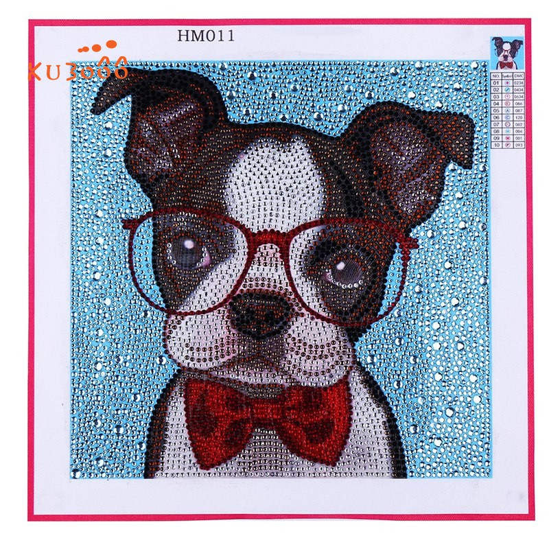 Frameless Animal Dog Picture Art Craft Crystal Rhinestone by Digital Kit for Wall Decoration 5D DIY Diamond Painting Kits 7.9 x 7.9 inch