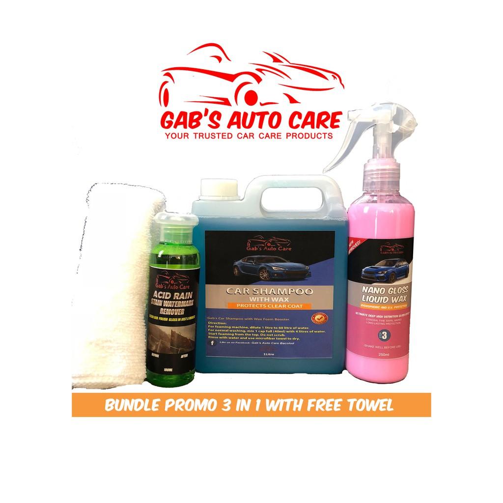Gabs Car Shampoo w Wax + Nano Gloss Wax + acid Rain Remover