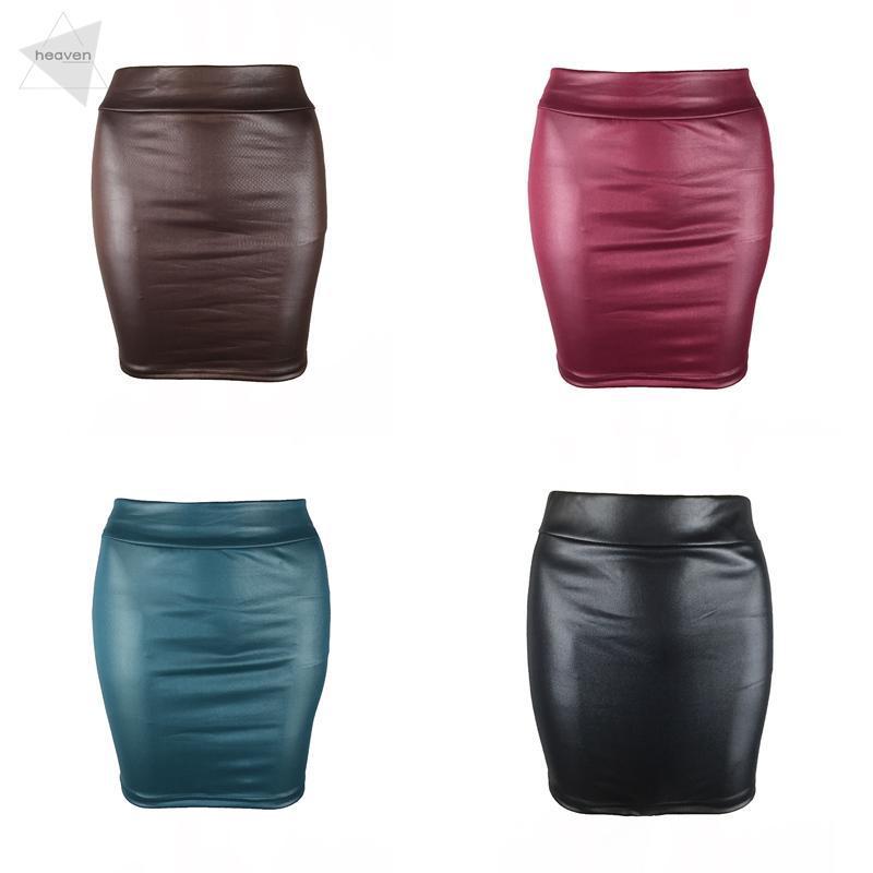better price top-rated original popular brand Black Leather Skirt Short Wet look Shiny Tight Mini Skirt