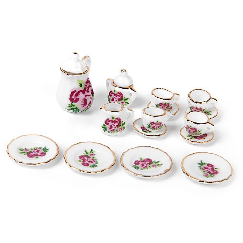 Miniature dolls house accessories 17 piece porcelain tea set Blue 1:12th scale