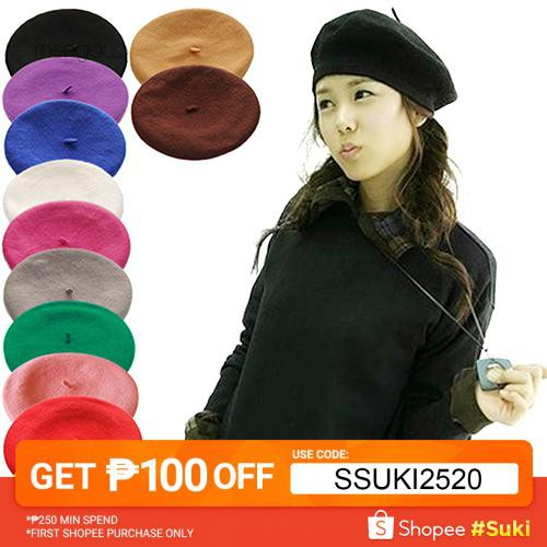 aa7f32972 ▷Meng◁Women Girl Solid Color Warm Winter Beret French Artist