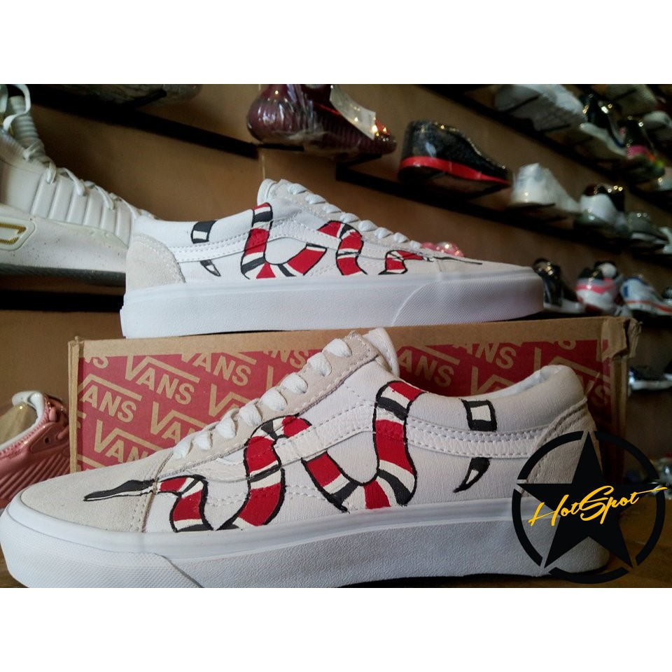 Vans Old Skool Gucci Snake White Customized Unisex  8b798c52f