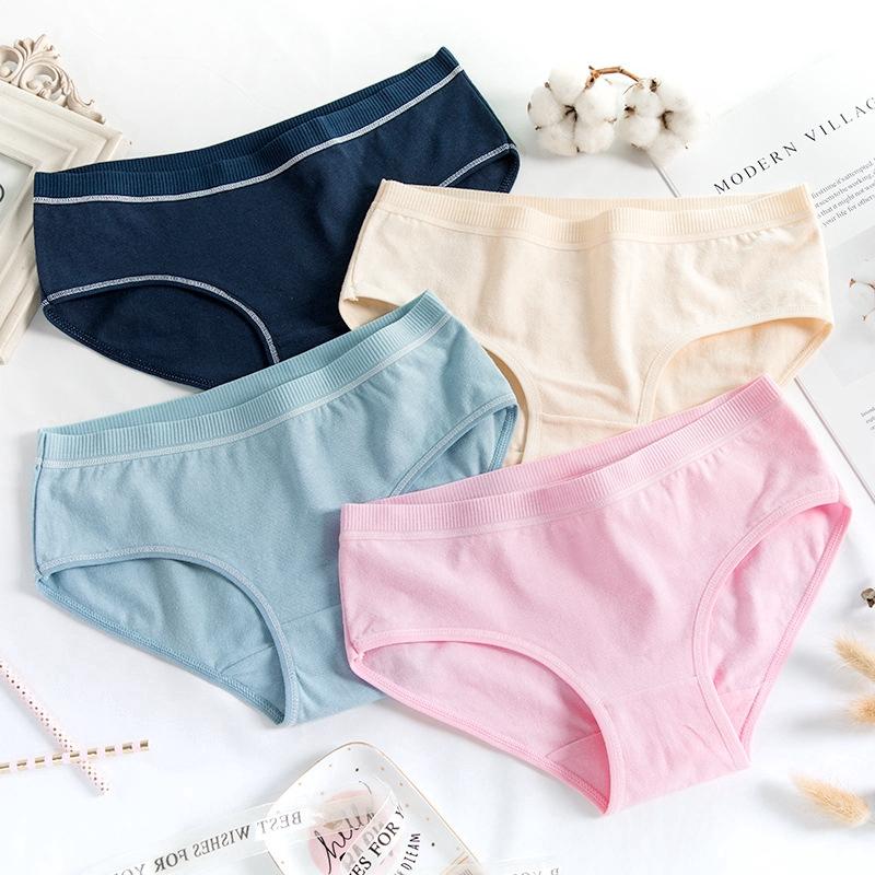 2 Pcs Packed Soft Pure Cotton Women Briefs Panties Underpants Underwear M-2XL