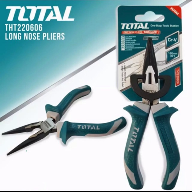 """Total THT220606 Long Nose Pliers 6"""" Black 