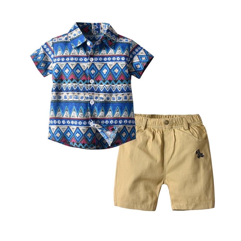 2pcs Kids Baby Boys Short Sleeve Star T-Shirt+Shorts Cotton Beach Clothes Sets