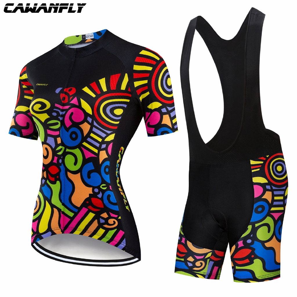 NEW Summer CAWANFLY New Women Cycling Jersey Set Suit Short Sleeve Clothes Quick Dry Pro Team