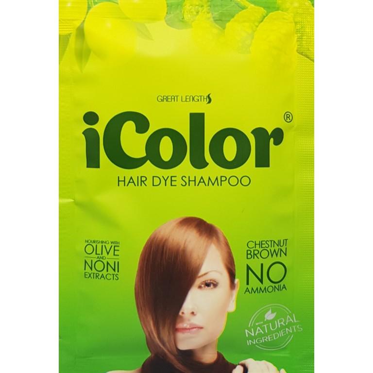 iColor Hair Dye Shampoo Chestnut Brown 30ML Sachets