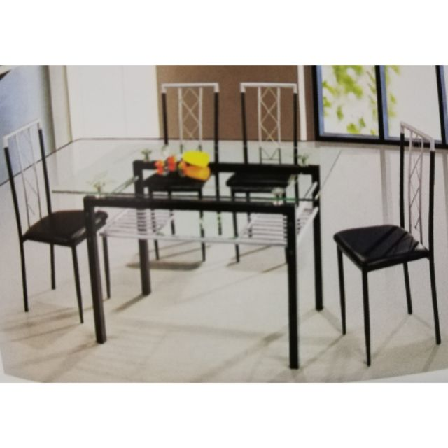 Cod Glass Table Dining Set 4 S Shopee Philippines