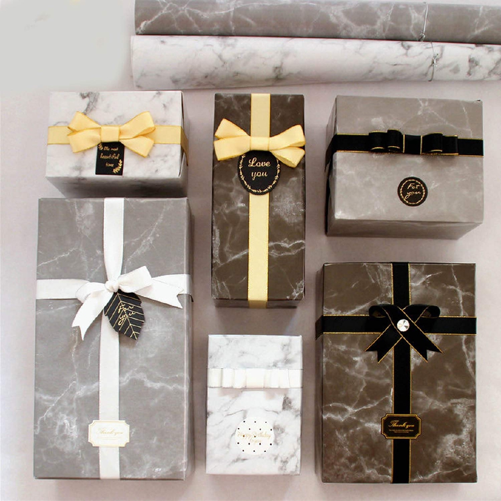 9 Rolls Assorted Colors Marble Design Gift Wrapping Paper Set for Birthday Holiday Wedding New Years
