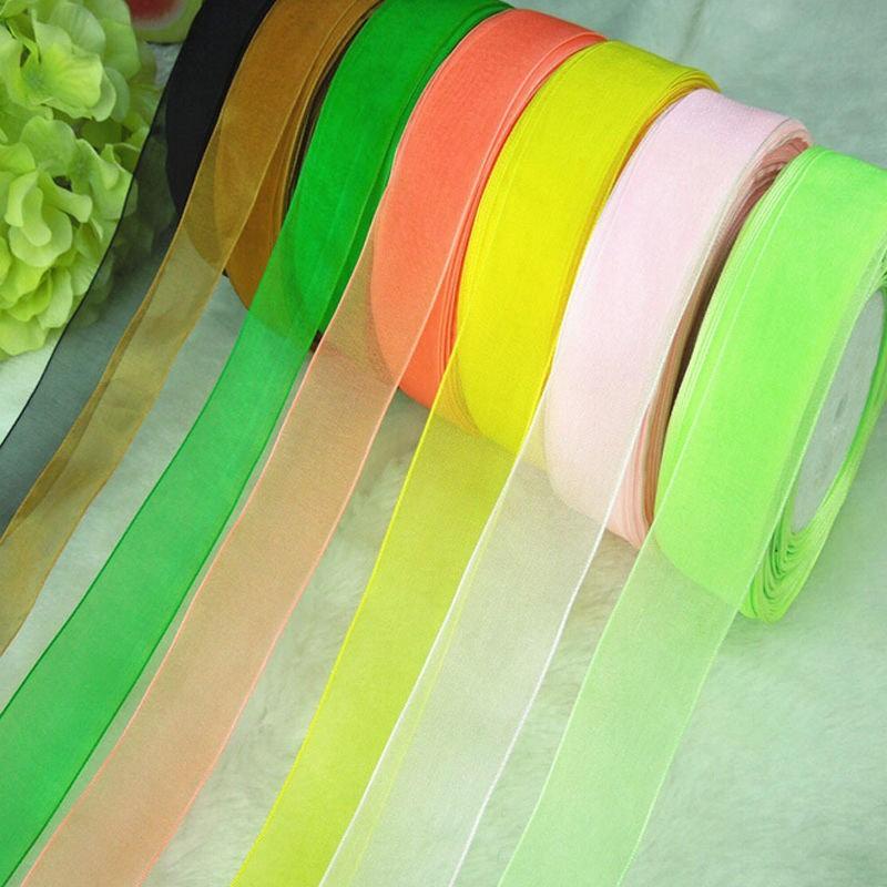 "NEW DIY 50 Yards 3//8/""Sizes Light green Satin Edge Sheer Organza Ribbon Bow Craft"
