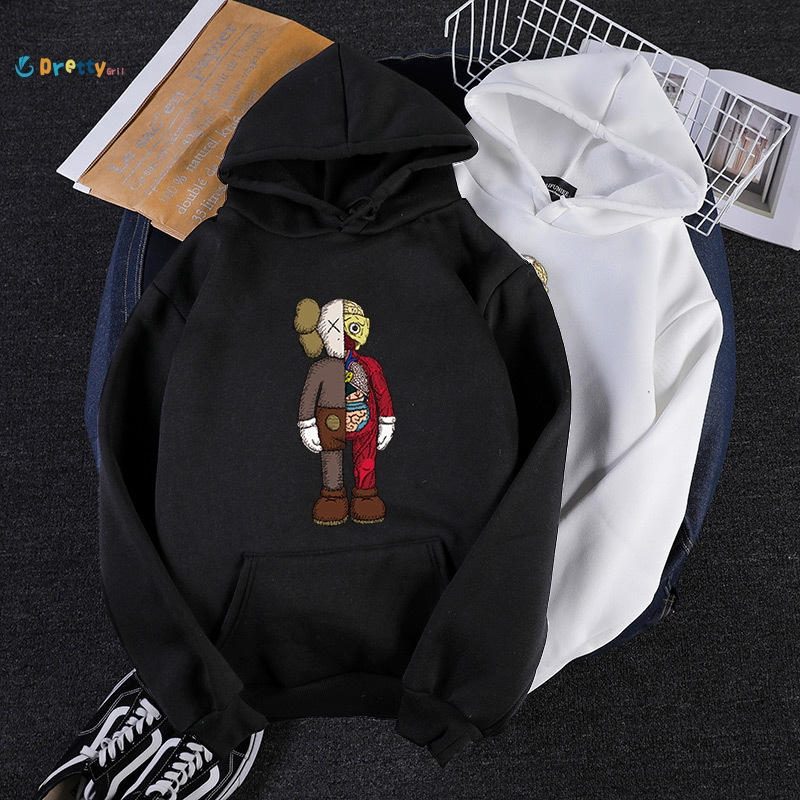 YUNY Color Splicing Plus-Size Coat Jacket Loose Fit Hoodie Sweatshirt White S