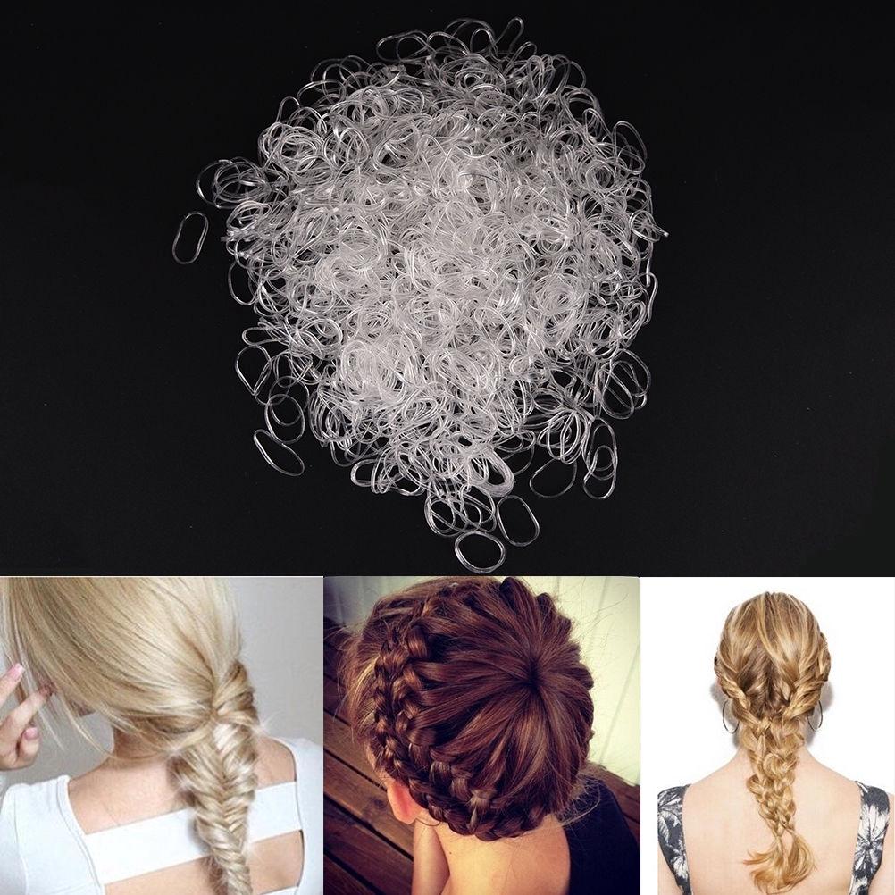 500Pcs MINI CLEAR HAIR ELASTICS RUBBER BANDS Braids Braiding Plaits Ponytail