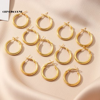 Yeslady Geometric Circular Stud Earrings Zinc Alloy