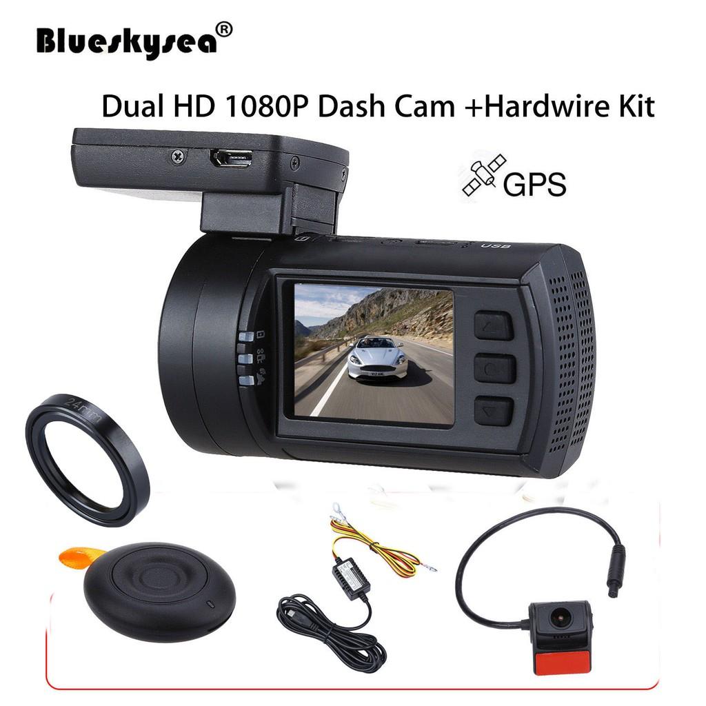 Dual 1080P Car Dash Camera GPS +Hard Wire Kit + CPL Filter on