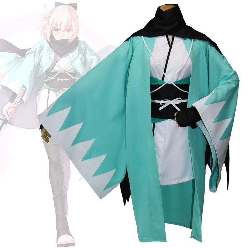 Anime Fate Grand Order Cosplay Costume Okita Souji Cosplay Green Kimono Cloak
