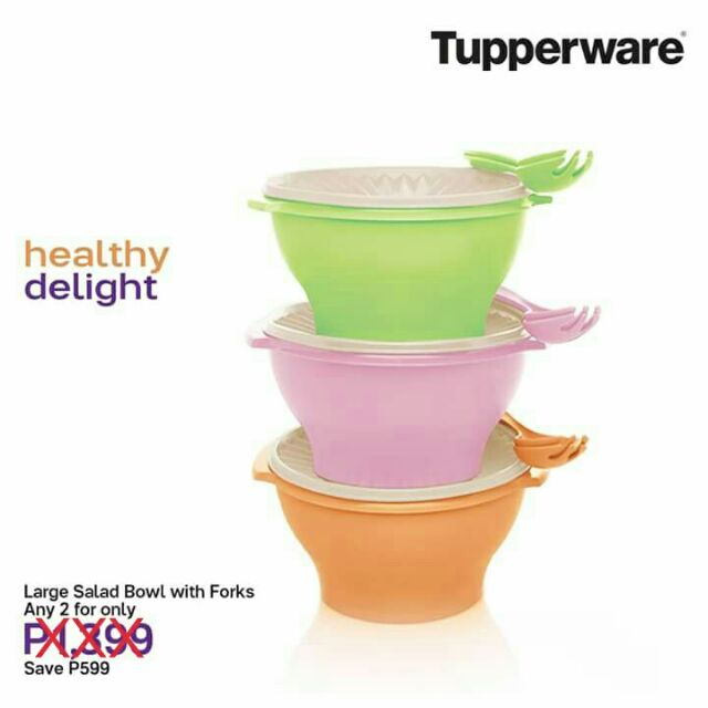 Tupperware Large Salad Bowls With Forks