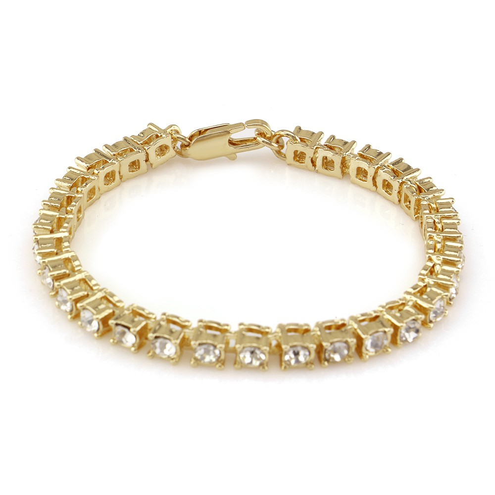8inch Gold Plated Iced Out Miami Cuban Link Chain Bracelet