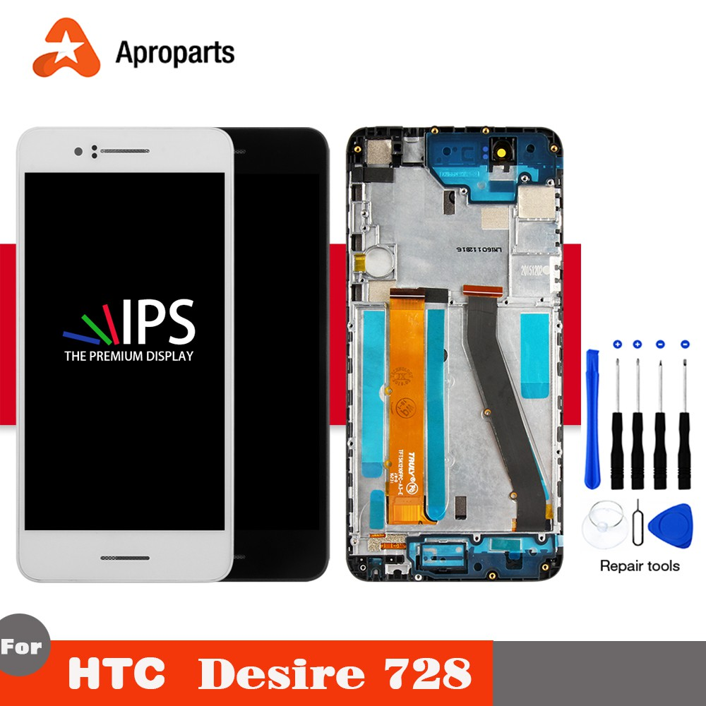 Display For HTC Desire 728 LCD Touch Screen For HTC 728 LCD Assembly With  Frame Replacement