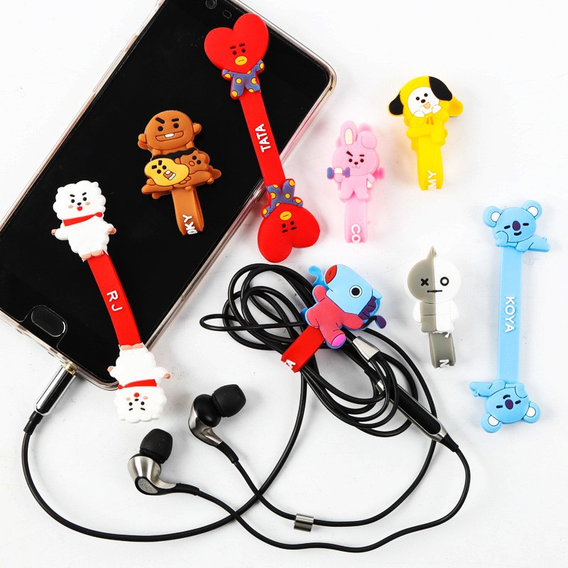 629aba29c86 Silicone BTS BT21 Earphone Cable Organizer Wrap Wire Winder | Shopee  Philippines