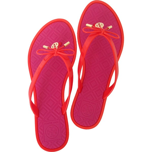 35a3798729ed03 Tory Burch Jelly Bow Logo-Charm Thong Sandal