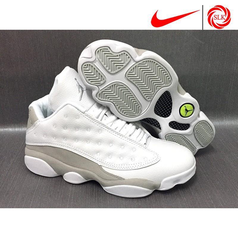 2018 shoes official supplier sale SLK★ Nike Air Jordan 13 Low White/Metallic Silver-Pure Platinum Basketball  shoes