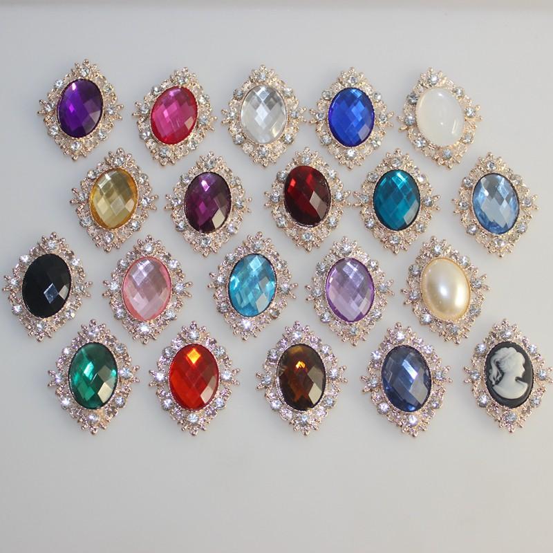 10Pcs Vintage Style Rhinestone Pearl Buttons Wedding Scrapbooking Embellishments