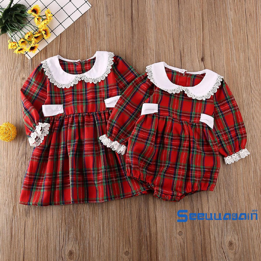 Sister Matching Infant Kid Baby Girls Romper Bodysuit Party Dress Outfit Clothes