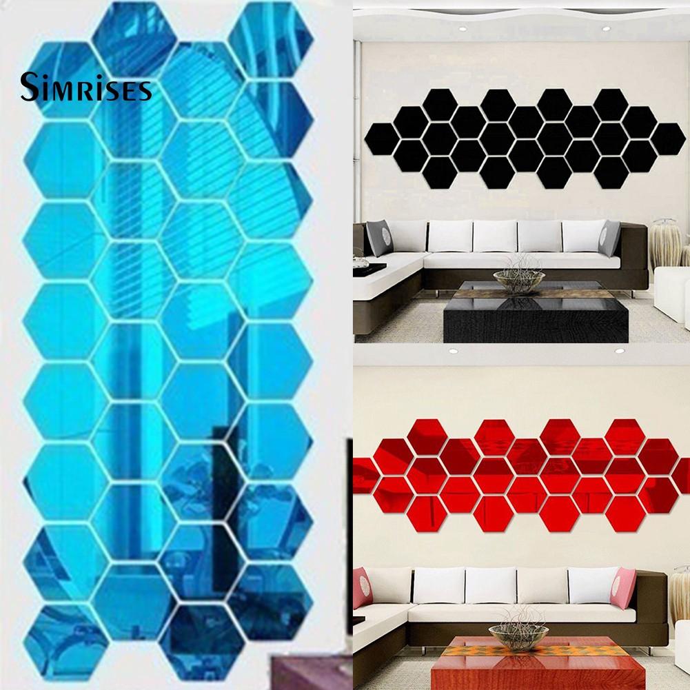 12Pcs Geometric Hexagon 3D Mirror Effect Wall Stickers DIY ...