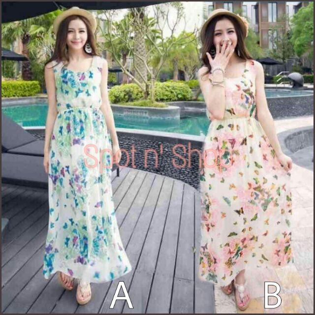 Trendy Women Chiffon Maxi Casual Dress | Shopee Philippines