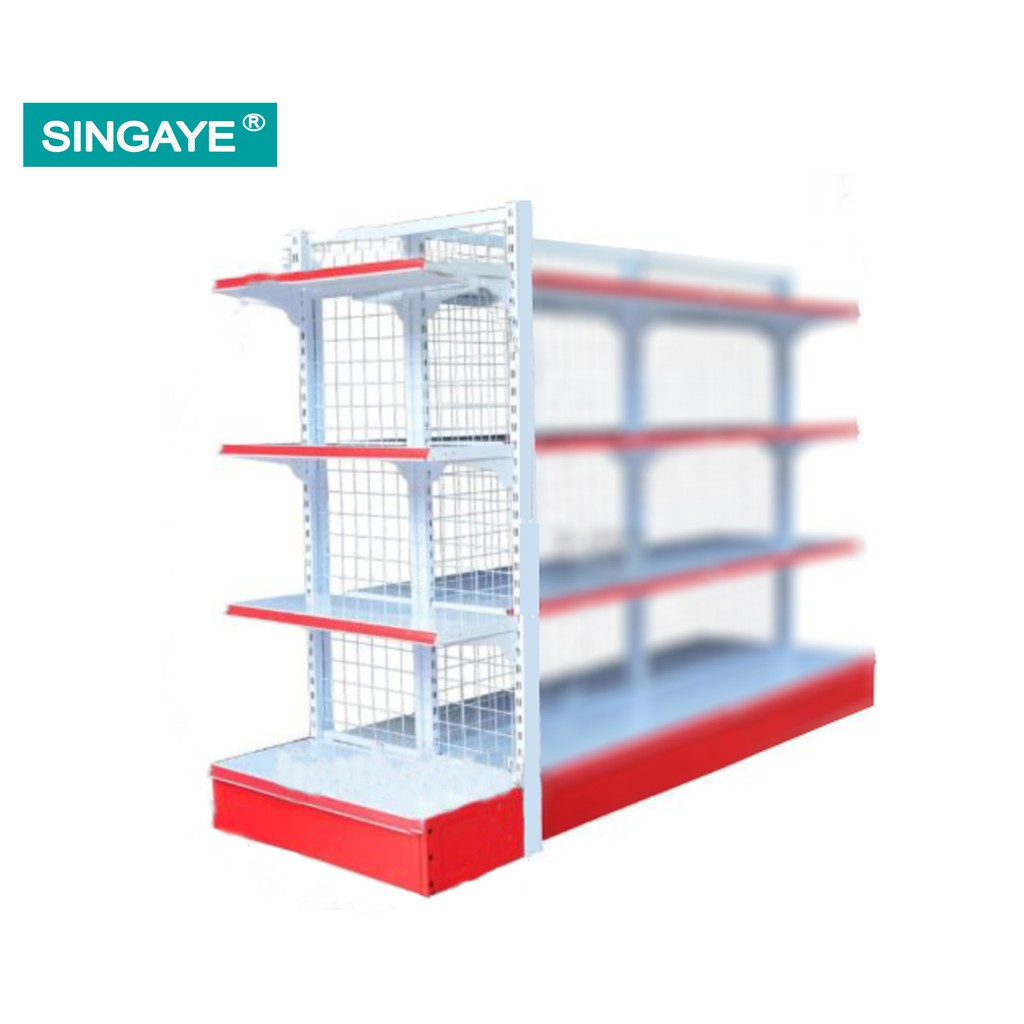 Singaye Four Tier Gondola End Type Mesh Racks For Double Sided Mesh H 180cm X L 75cm X W 40cm