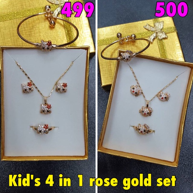 [SD] 4 in 1 Blue Diamond Rose Gold Jewelry Set (RS-4S008) | Shopee Philippines
