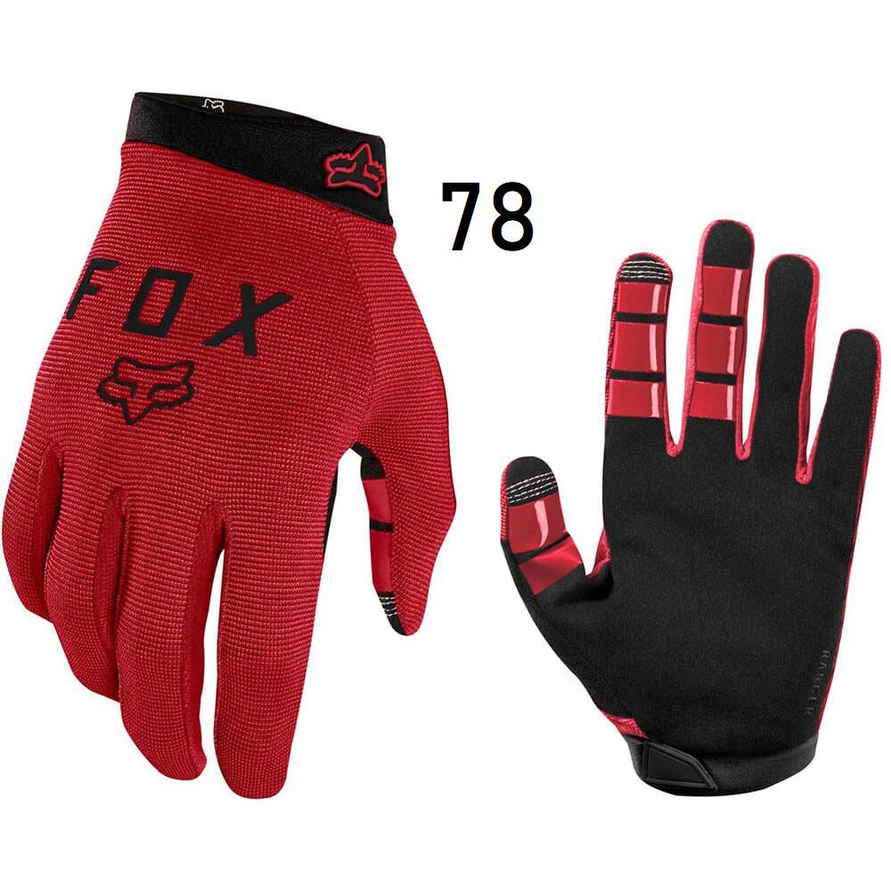 Black MTB // BMX Bicycle Ranger Gel Full Finger Gloves Fox